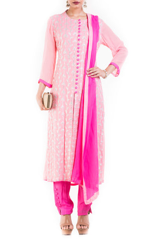 Light Pink And Fuchsia Suit Set With Cigarette Pant Front