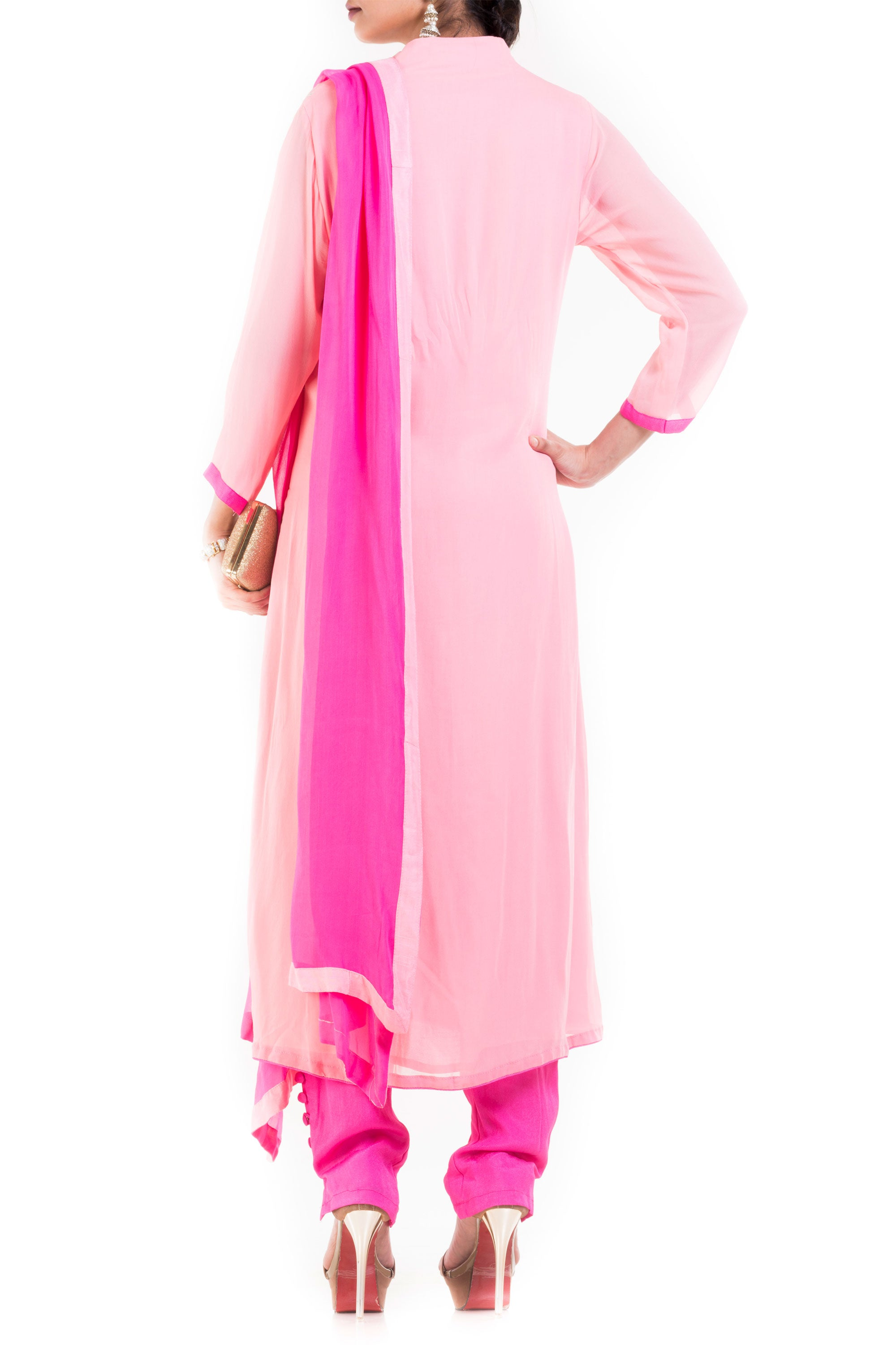 Light Pink And Fuchsia Suit Set With Cigarette Pant Back