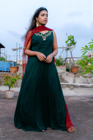 Emerald Green Anarkali Front