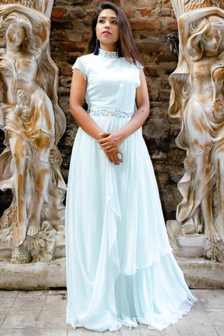 Sky Blue Drape Gown