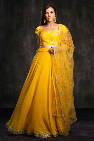 The Yellow Muai Lehenga Set Front