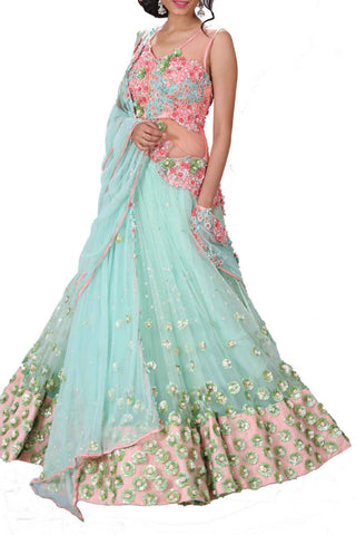 Sequin Embellished Lehenga Set Front