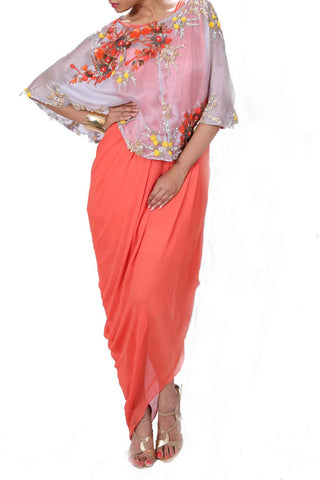 Tangerine Cape Gown Front