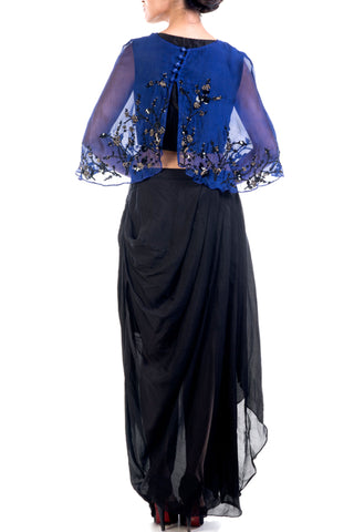 Navy Blue Embroidered Organza Cape & Drape Skirt Set