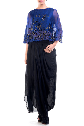 Navy Blue Embroidered Organza Cape & Drape Skirt Set Front