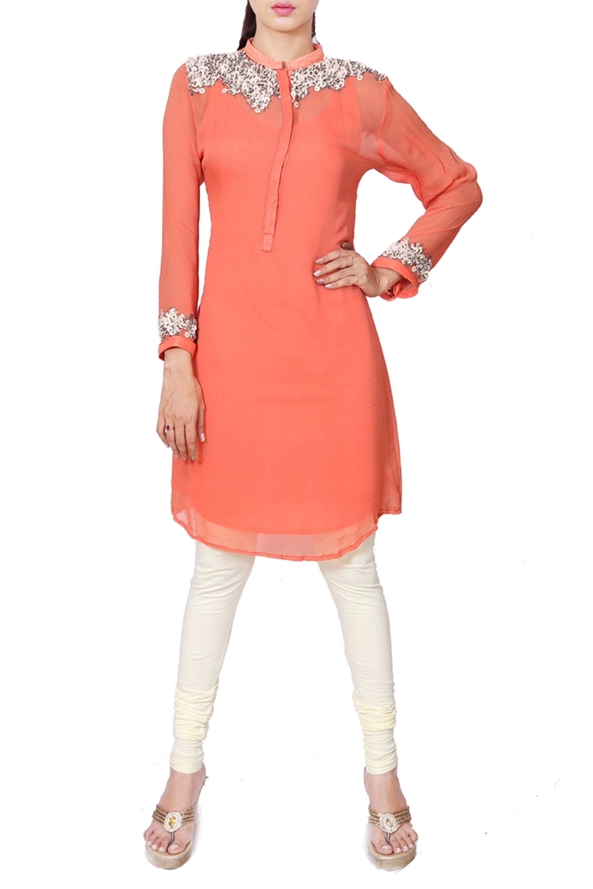 Peach Leather Work Tunic Front
