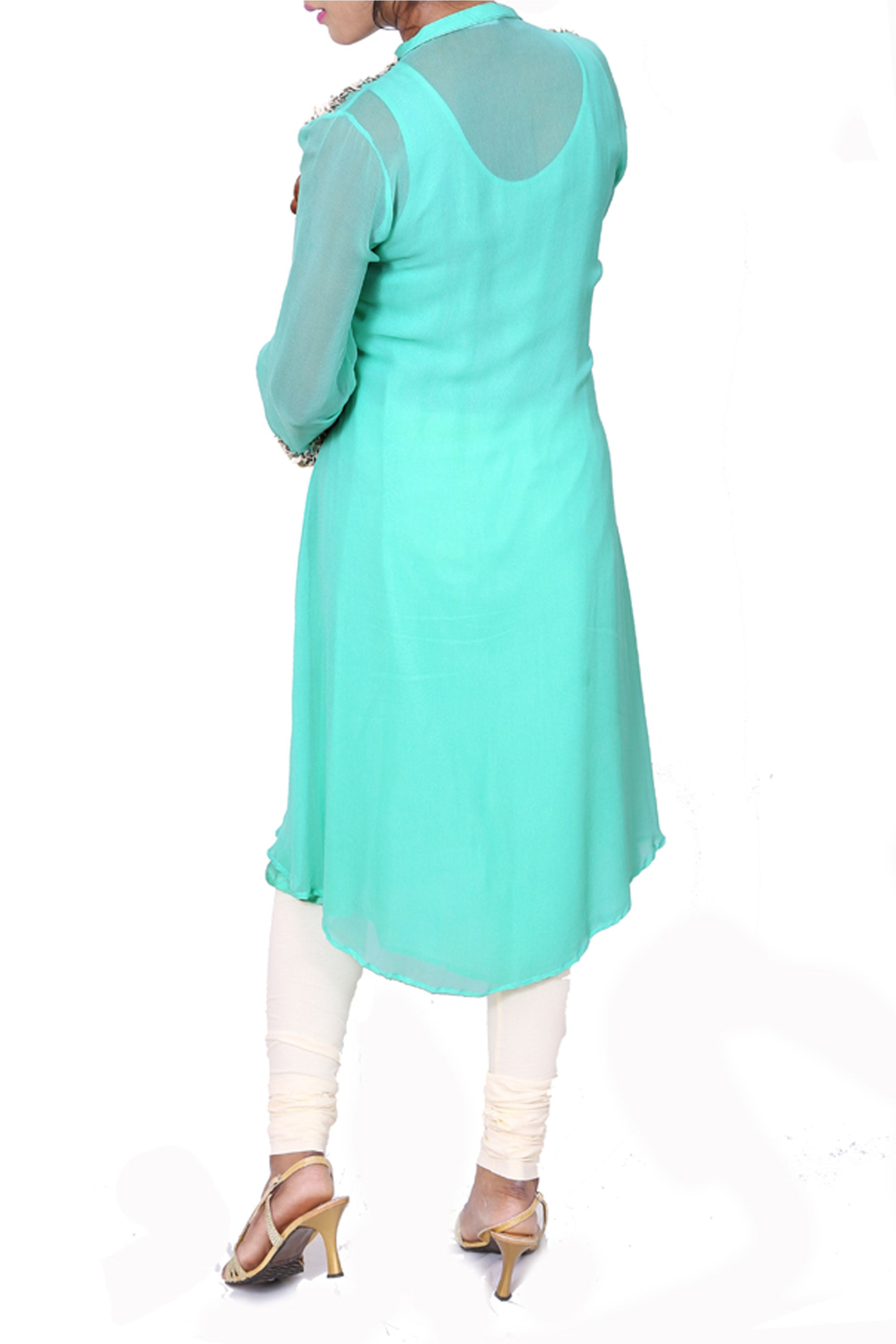 Aqua Blue Leather Work Tunic Back