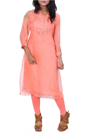 Peach Organza Double Layer Tunic Front
