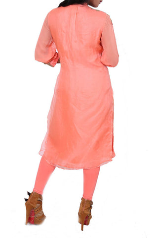 Peach Organza Double Layer Tunic