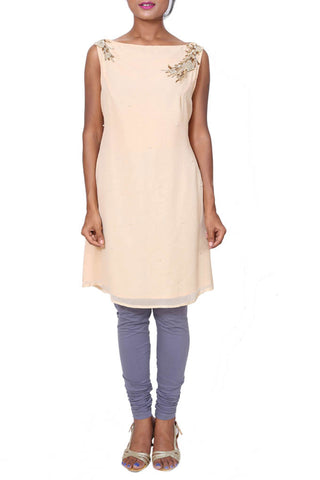 Ivory Sleeveless Short Tunic Front