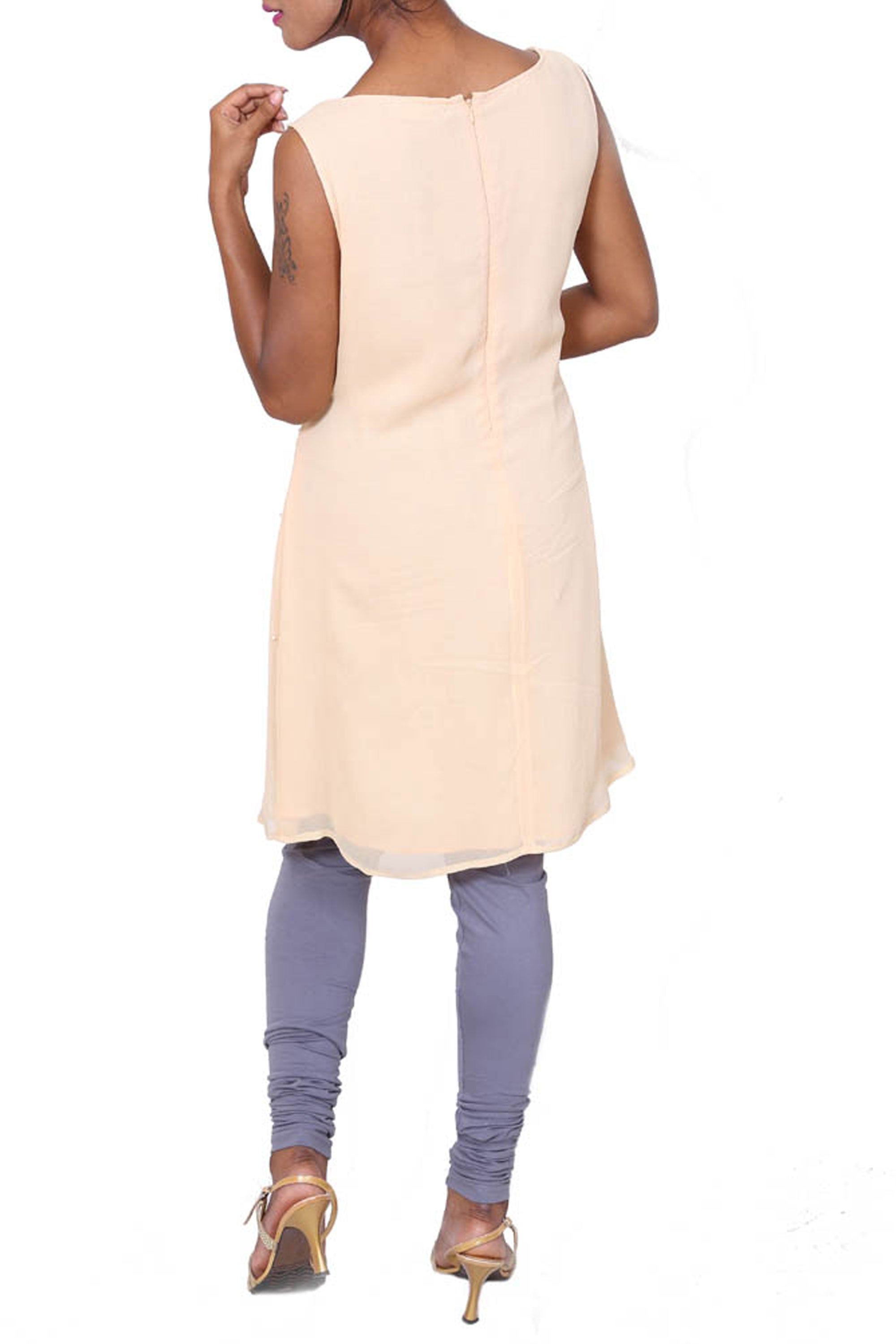 Ivory Sleeveless Short Tunic Back