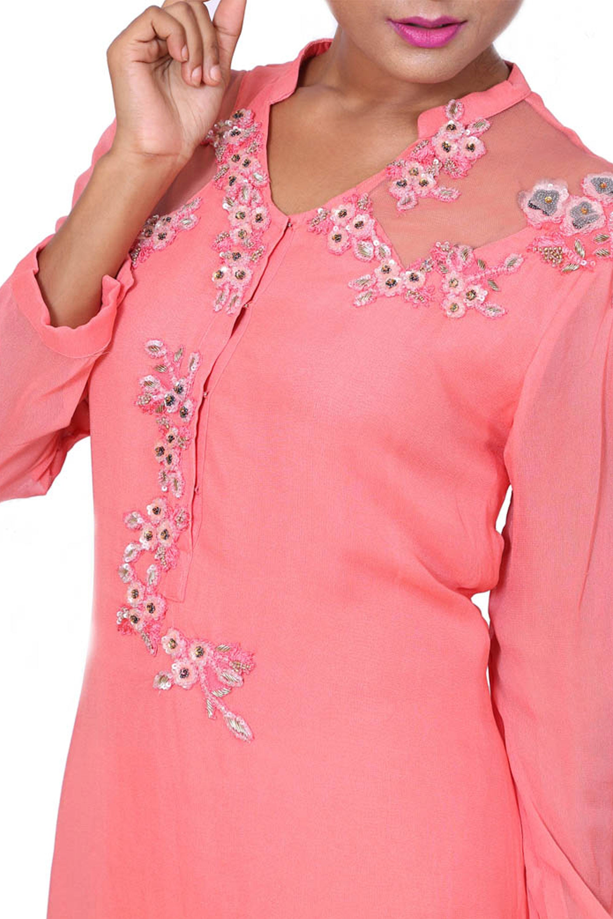 Rose Pink Sheer Net Shoulder Tunic Closeup