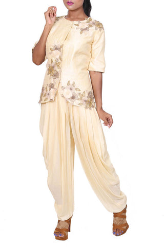 Ivory Raw Silk Jacket & Dhoti Pants Front