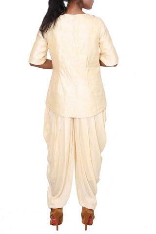 Ivory Cream Raw Silk Jacket & Dhoti Pants