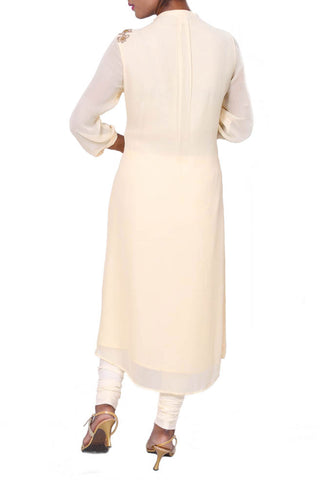 Ivory Mandarin Collar Sheer Georgette Shoulder Tunic