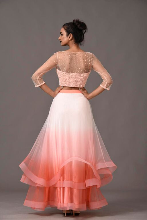 Blush Pink Ombre Skirt Suit Back