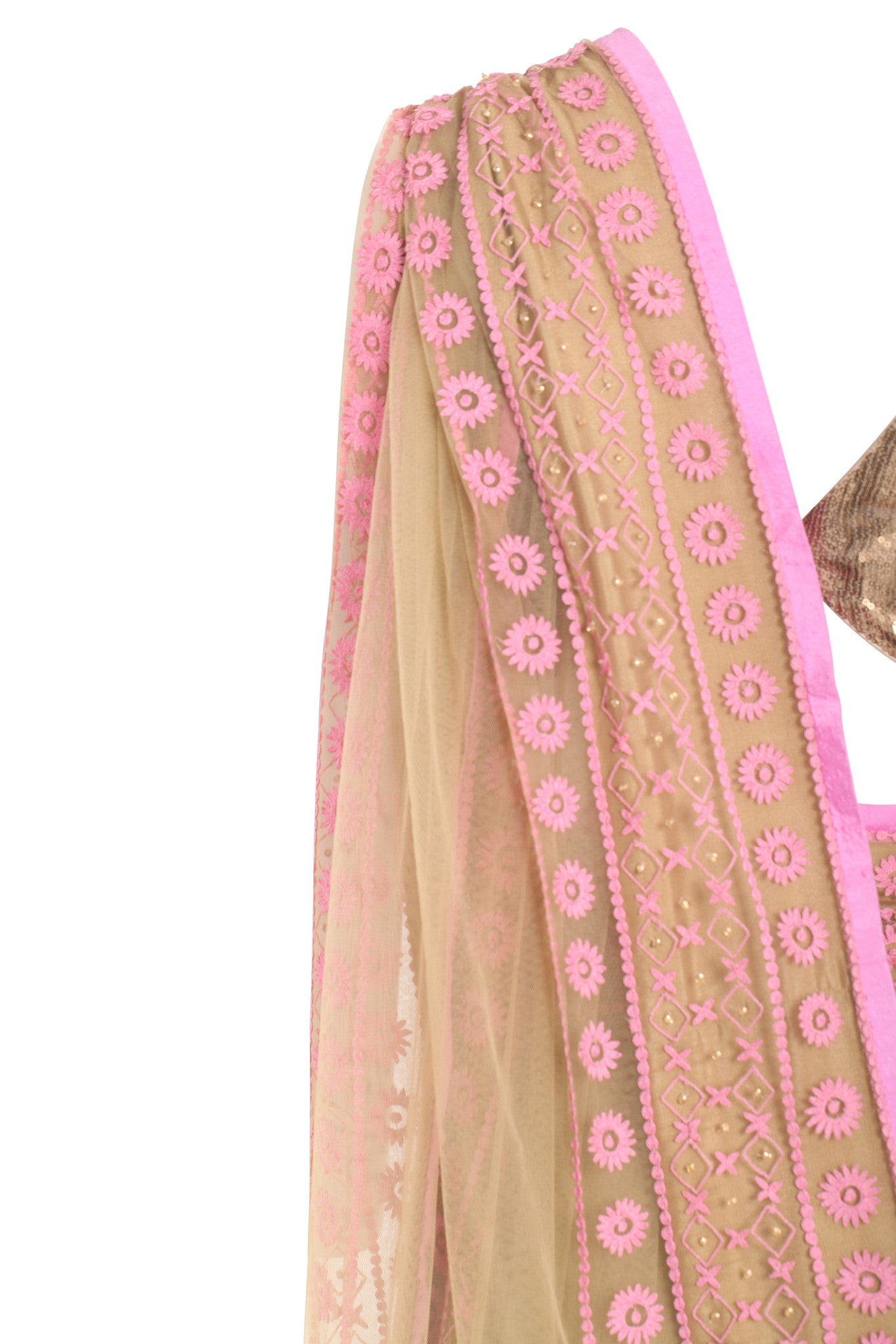 Shehla Khan Khaki Beige Tulle Saree Baby Pink Border Mannequin Close Up