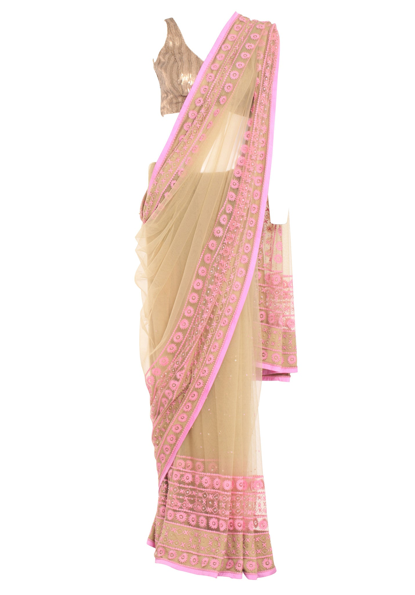 Shehla Khan Khaki Beige Tulle Saree Baby Pink Border Mannequin Front