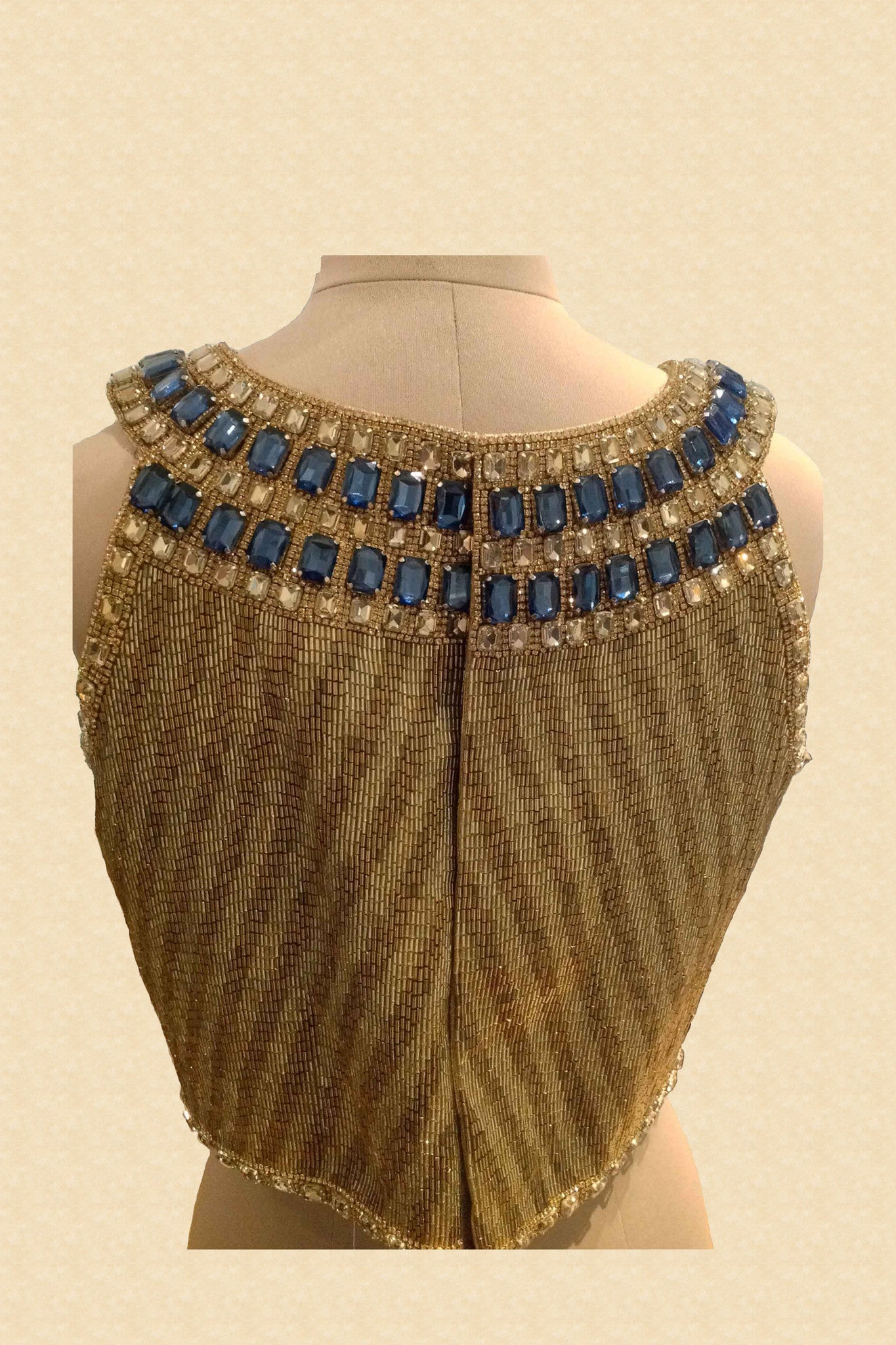 Fully Embroidered Blouse With Blue Stones Back