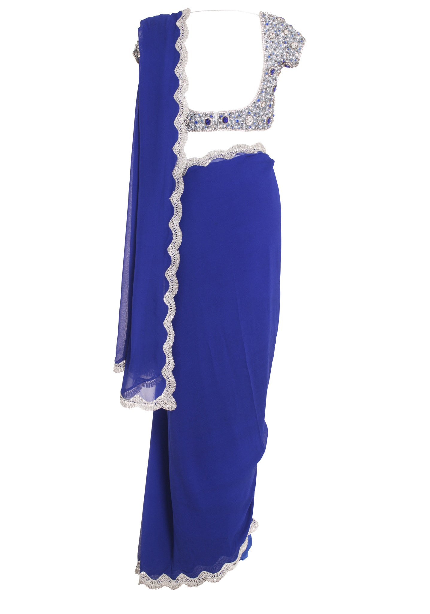 Blue Jewelled Silk Saree Seema Khan Mannequin Back
