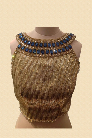 Fully Embroidered Blouse With Blue Stones Front