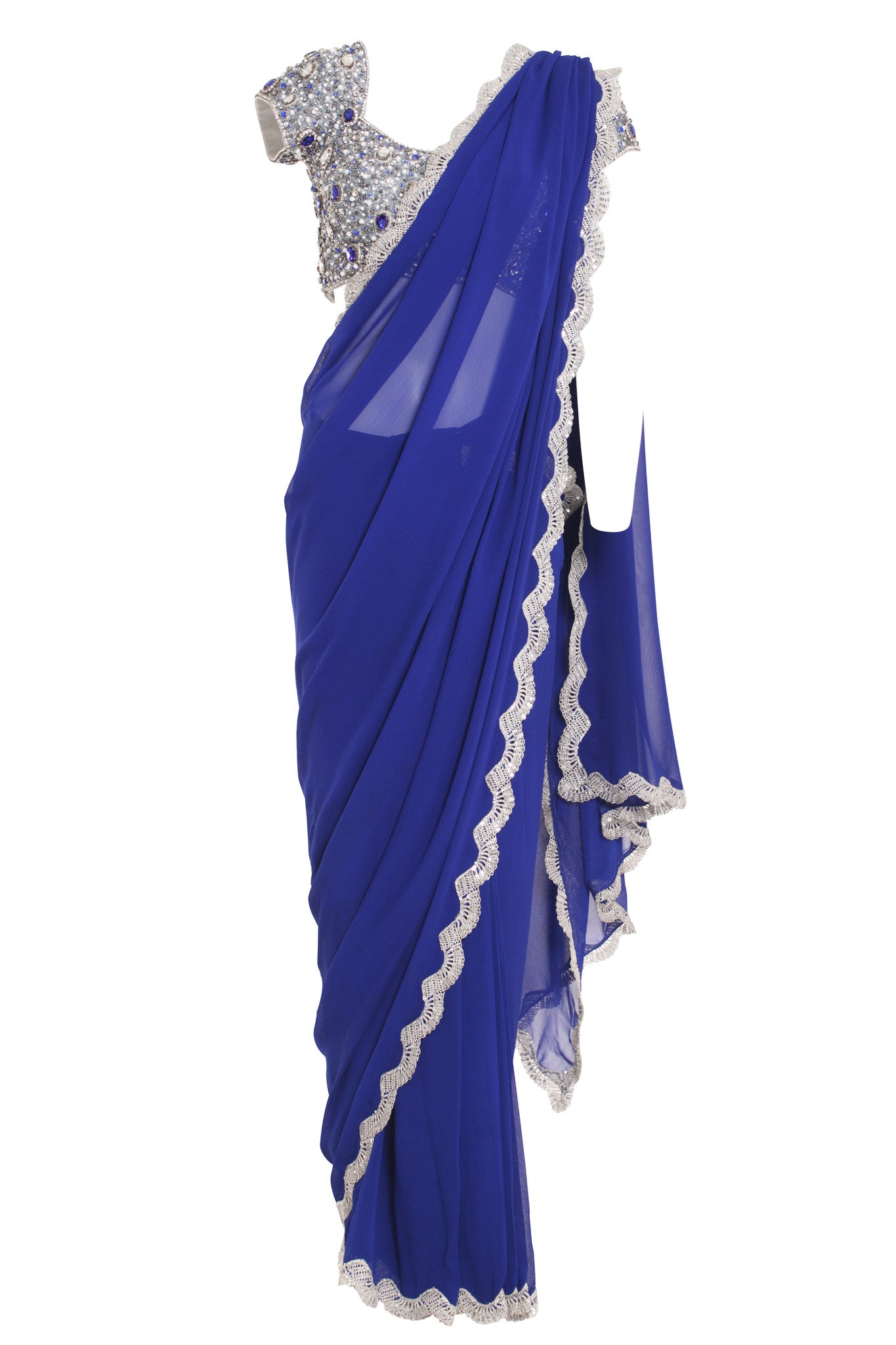 Blue Jewelled Silk Saree Seema Khan Mannequin Front