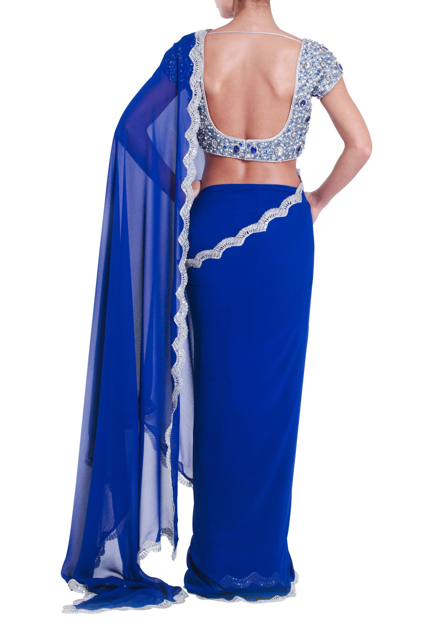 Blue Jewelled Silk Saree Seema Khan Back