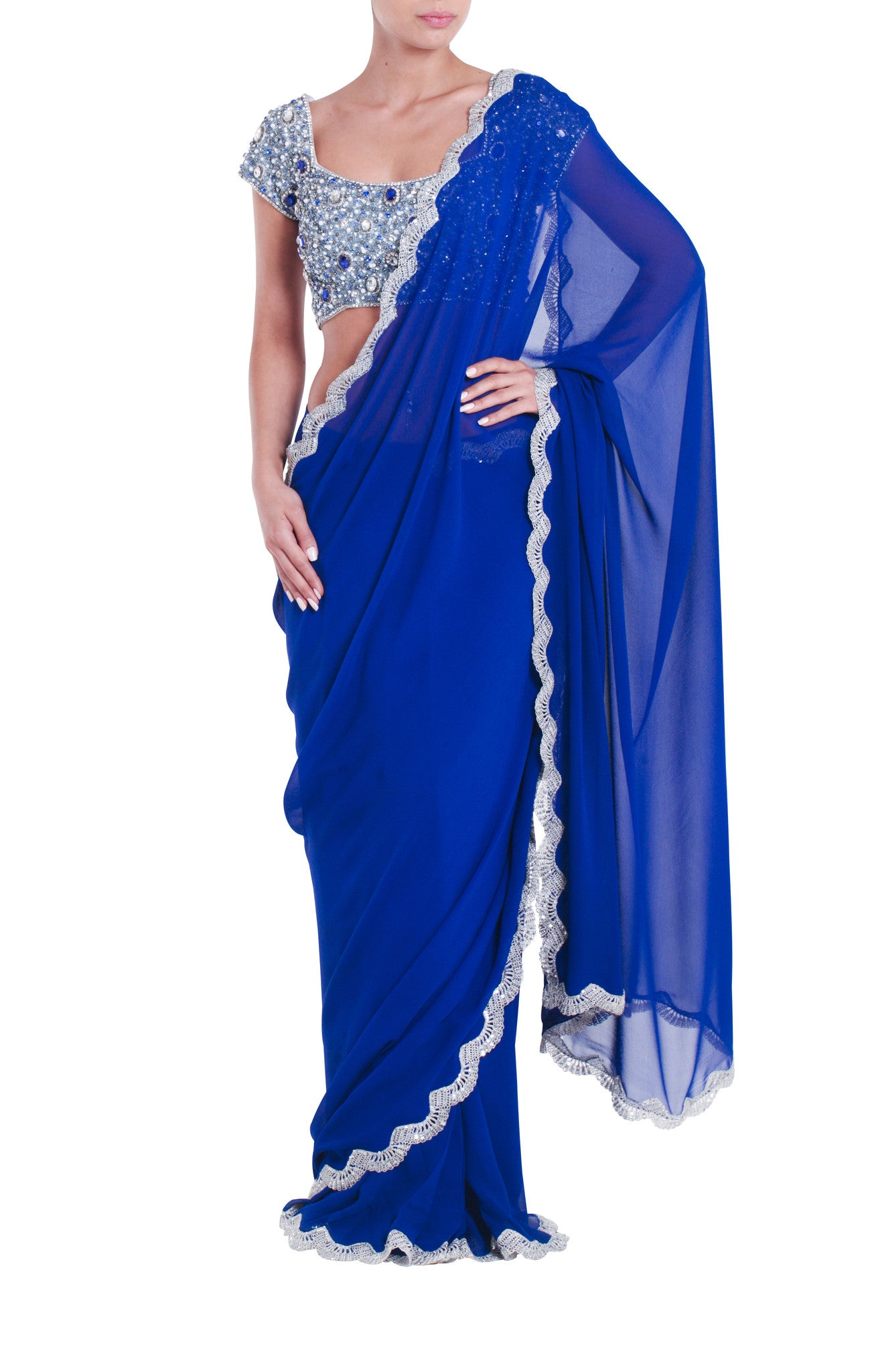 Blue Jewelled Silk Saree Seema Khan Front