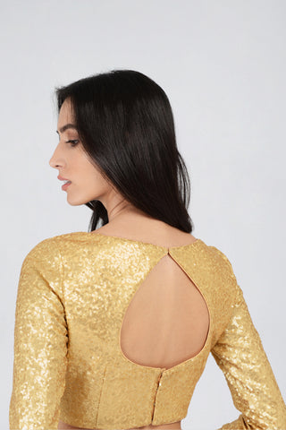 Gold Sequin Boat Neck Long Sleeve Blouse