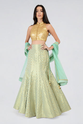 Gold Sequin Halter Neck Blouse With Sea Green Brocade Fishtail Skirt & Dupatta FRONT