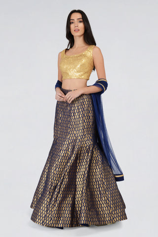 Sequin Gold Sleeveless Blouse With Navy Blue Brocade Fishtail Skirt & Navy Blue Dupatta Lehenga Set FRONT