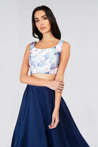Sleeveless Humming Bird Print Top With Navy Blue Round Flare Skirt Lehenga Set FRONT