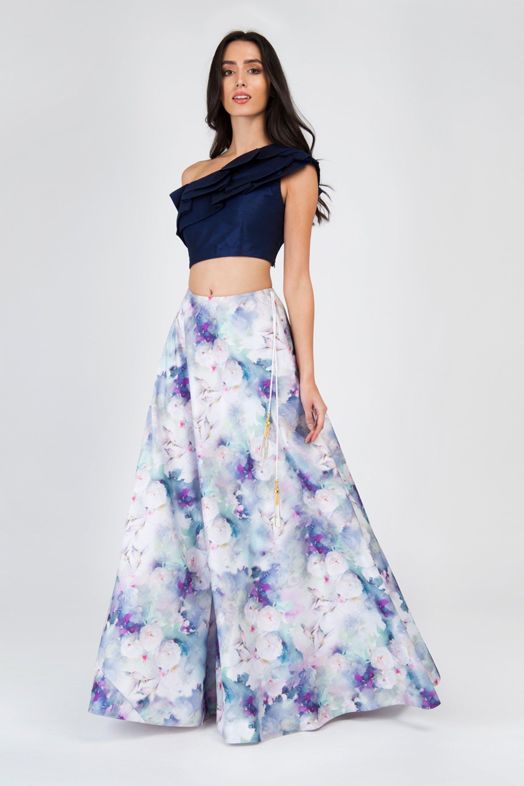 Off One Shoulder Navy Crop Top With Humming Bird Print Round Flare Skirt Lehenga Set FRONT