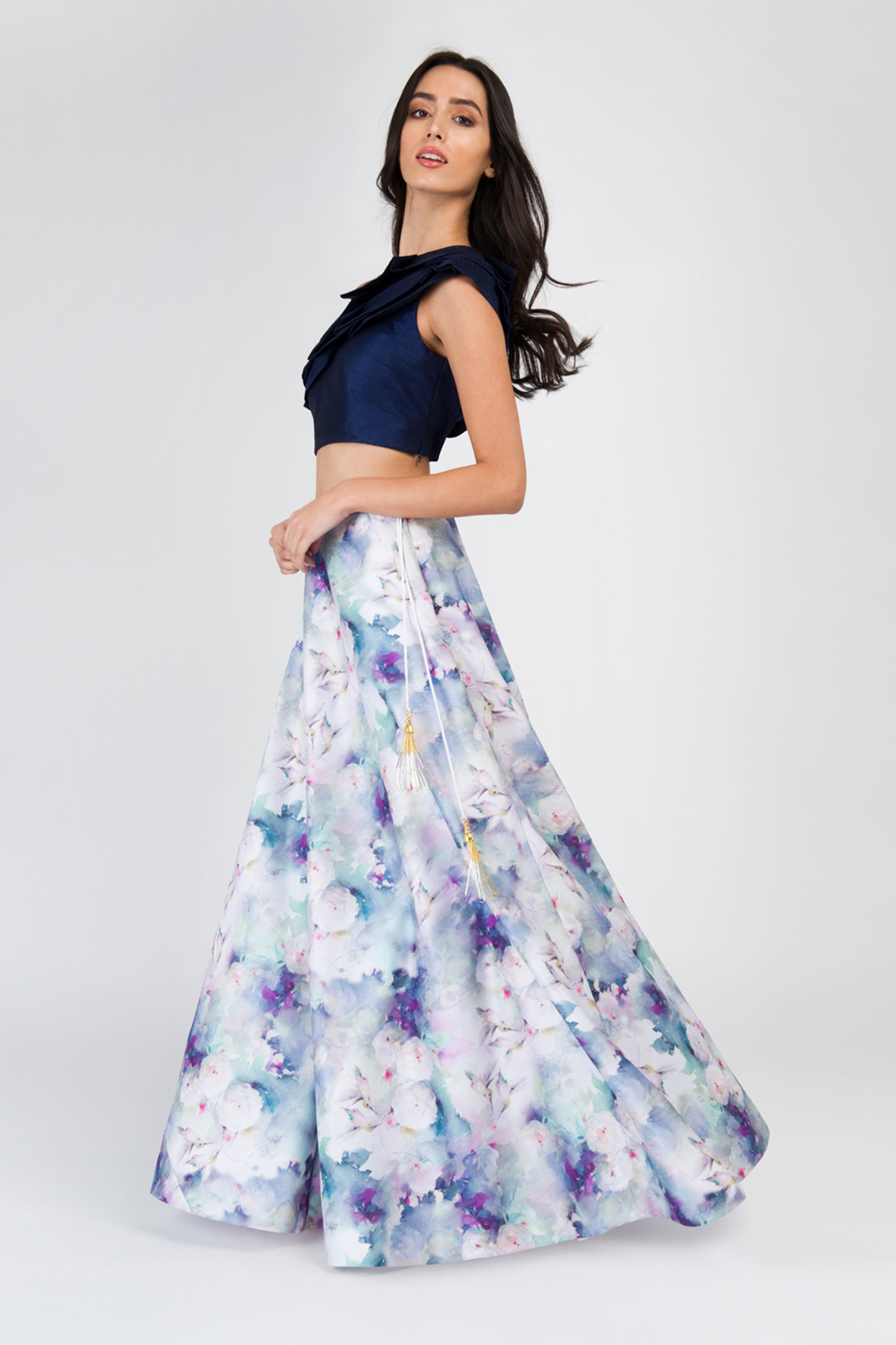 Off One Shoulder Navy Crop Top With Humming Bird Print Round Flare Skirt Lehenga Set SIDE