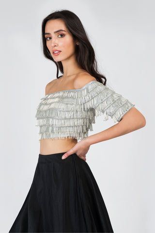 Off Shoulder Silver Tassel Crop Top Blouse