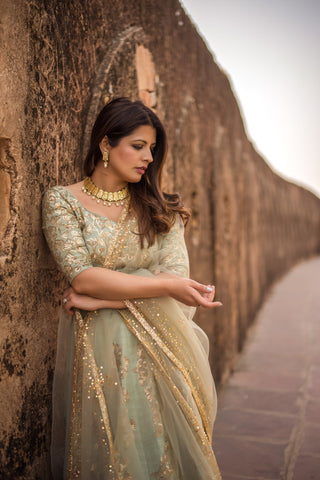 Artichoke Grey Lehenga With Blouse & Dupatta
