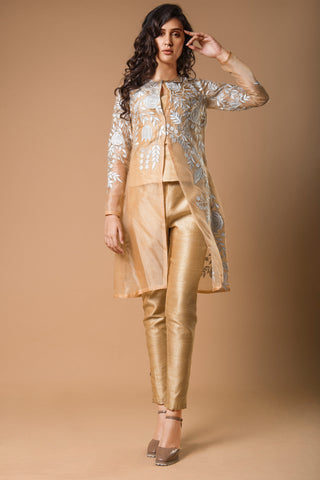Pastel Beige Organza Jacket with Straight Pants