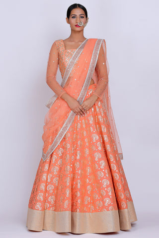 Rust Orange Lehenga Set FRONT