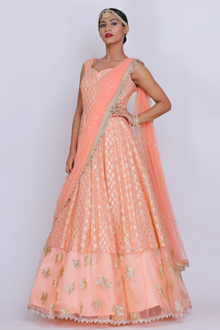 Peach Draped Anarkali Front