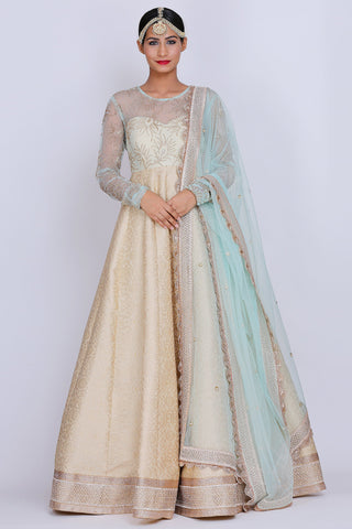 Powder Blue And Ivory Anarkali Front