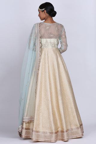 Powder Blue And Ivory Anarkali