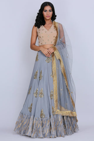 Grey And Beige Lehenga Set front