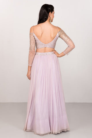 Lavender Sequinned Off Shoulder Lehenga