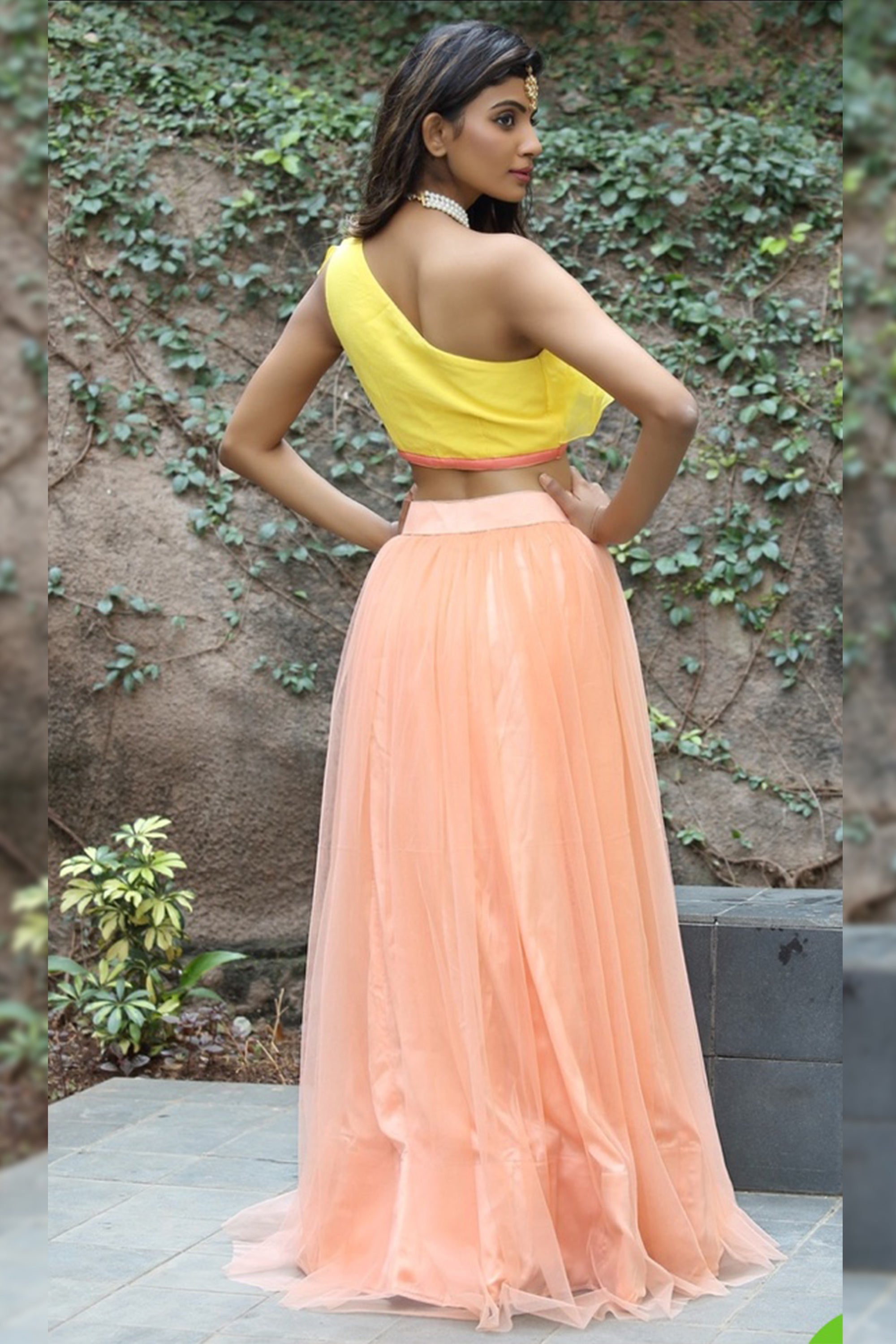 Sunflower Yellow One-Shoulder Top With Peach Parfait Tulle Skirt Back