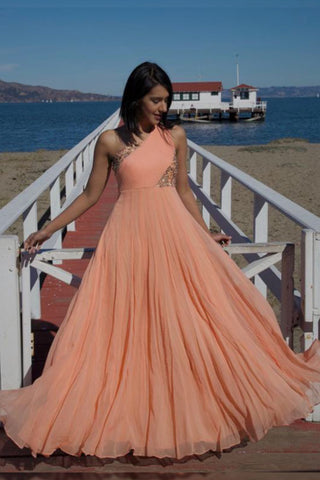Peach One Shoulder Gown