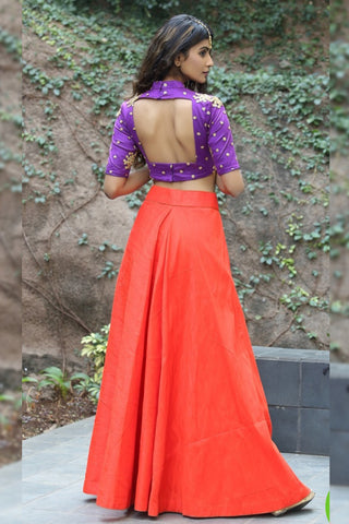 Royal Purple Crop Top & Vermillion Flared Skirt