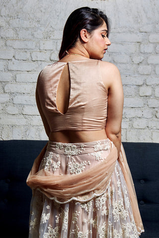 The Vintage Rose Gold Lehenga Set