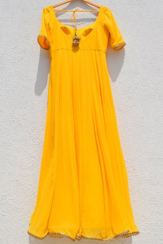 Bumblebee Yellow Anarkali With Fire Ombre Dupatta