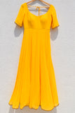 Bumblebee Yellow Anarkali With Fire Ombre Dupatta SIDE