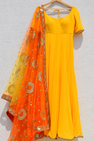 Bumblebee Yellow Anarkali With Fire Ombre Dupatta FRONT